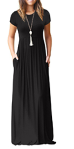 RECERELLE Women's Short Sleeve Loose Plain Maxi Dresses Casual Long Dresses with Pockets