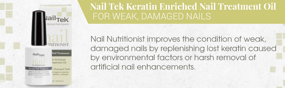 Nail Tek Nail Nutritionist, Keratin Enriched Nail Treatment Oil for Weak and Damaged Nails, 0.5 oz