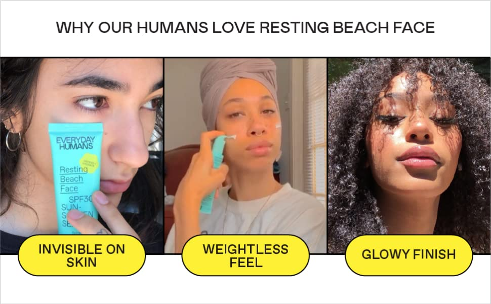 Invisible on skin, weightless feel, glowy finish