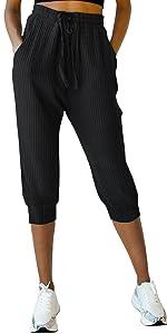 Women's Drawstring Capri Pants Joggers