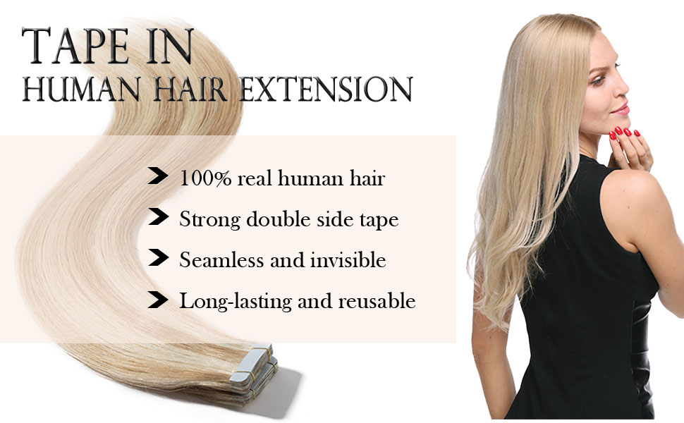 Tape in human hair extension