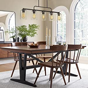 Beionxii 5-Light Kitchen Island Lighting Farmhouse Linear Chandelier