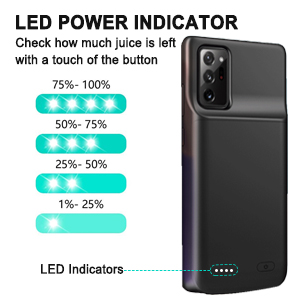 ATRAING Galaxy Note 20 Ultra Battery Case 6000mAh Wireless Charging Slim Rechargeable Extended Charger Protective Cover for Samsung Galaxy Note 20 Ultra Black