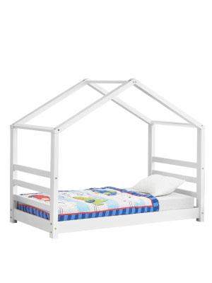 Lit Cabane pour Enfants avec Grille Vardø 90 x 200 cm Blanc Forme Maison Pin