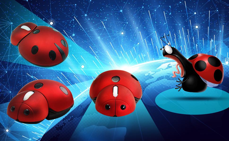 cute small ladybug wireless mouse