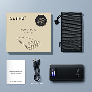 GETIHU 10000mAh LED display portable charger