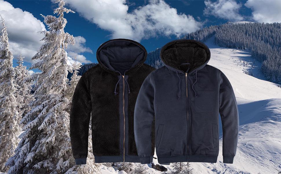 Men's Winter Workout Fleece Hoodie Jackets Full Zip Wool Warm Thick Coats