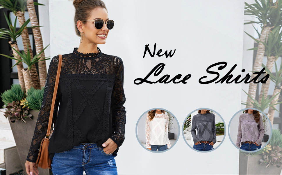 long sleeve lace tops women
