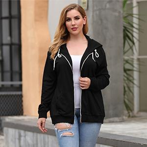 Nemidor Women Plus Size Zip Up Hoodies