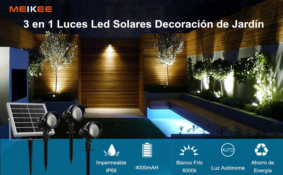 Luz Solar de Exterior, MEIKEE Foco Solar Led Jardín Exterior Blanca Fría, Lámpara Led Solar Exterior 3W, Foco Proyector Solar Exterior Impermeable IP66 para Jardín Césped, Patio, Camino,Terraza: Amazon.es: Bricolaje y herramientas