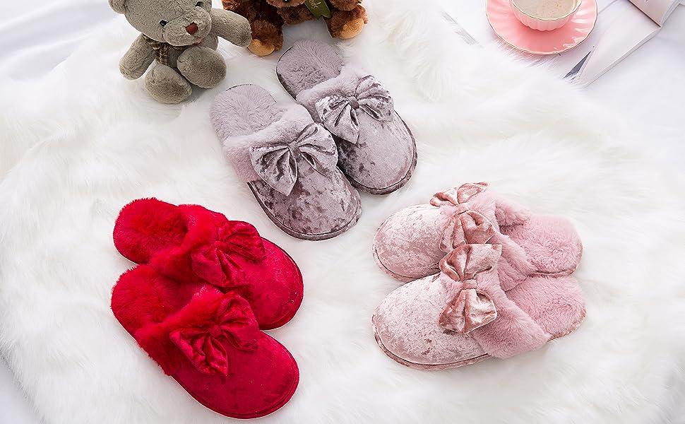 warm furry womens slippers