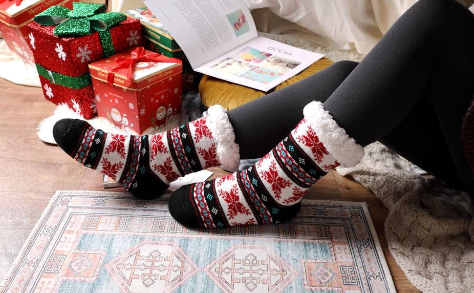 Soft Cozy Cotton Knitted Sock for Women Girls Christmas Xmas Gift Indoor