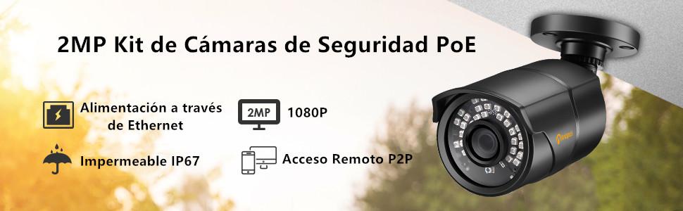 Anlapus 1080P Kit de Cámaras Seguridad PoE 8CH H.265+ ...