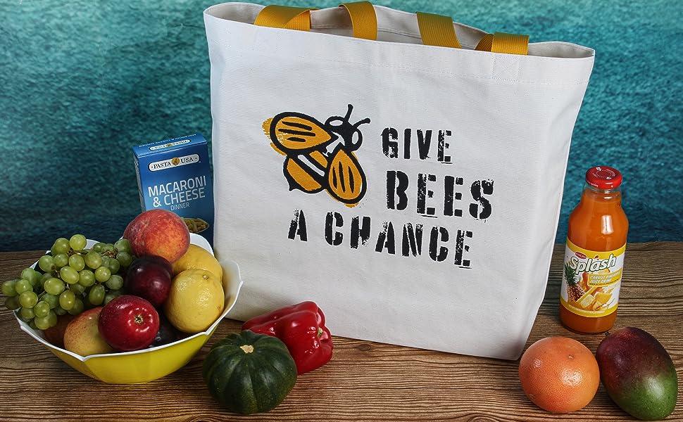reusable grocery cotton bag bees