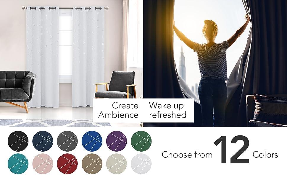 Blackout Curtains with Geometric Line Foil Print Pattern