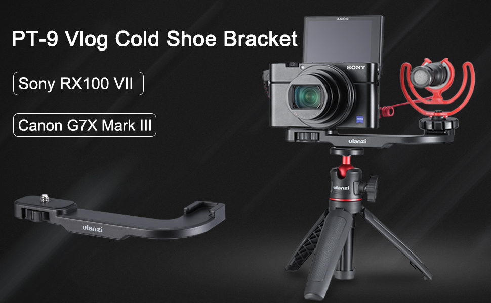 ULANZI PT-9 Vlog Cold Shoe Bracket Microphone Extension Bar Plate for Mic LED Video Light w 1//4 Tripod Screw for Sony RX100 VII Canon G7X Mark III Vlogging Setup Accessories