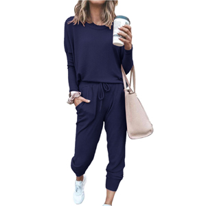 Solid Color Long Sleeve Loose Two Piece Active Wear