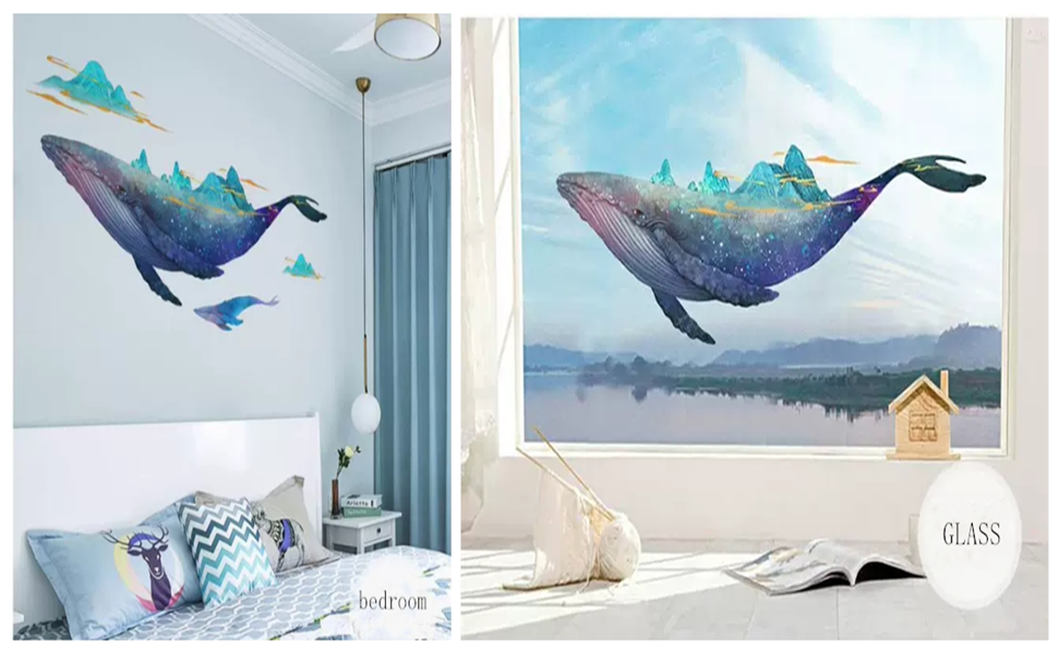F730 Whale Animal Ocean Bedroom Window Wall Decal 3D Art Stickers Vinyl Room Large 58x58