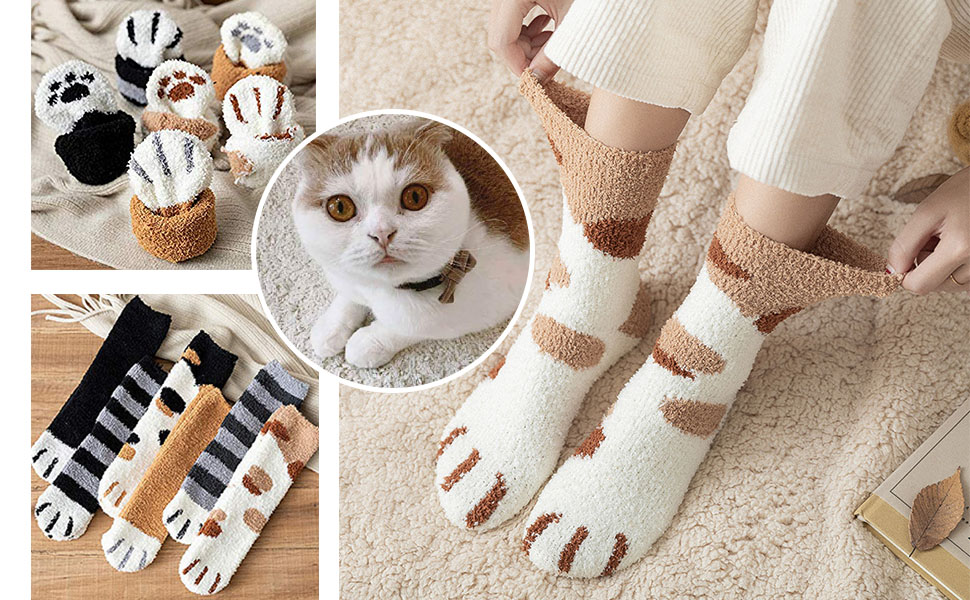 cat paw claw socks claws slippers women sock fuzzy girls cozy kitten feet cats girl thick paws silly