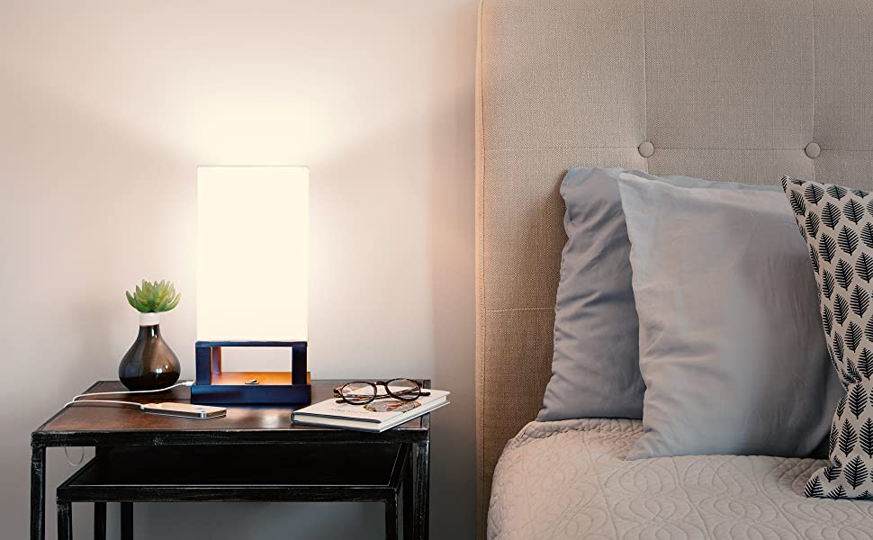 Brightech Maxwell - Bedroom Nightstand Lamp with USB Ports