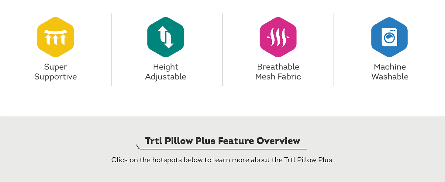 Trtl Pillow Plus feature icons