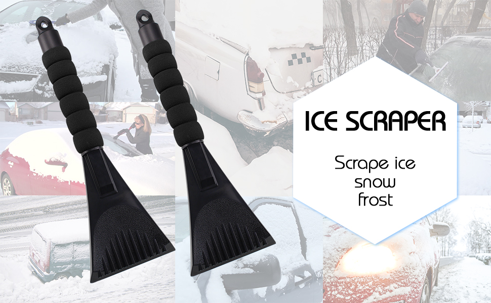 2 Pack Stainless Ice Scraper Combo Snow Ice Removal with Curvy Anti-Slip Handle