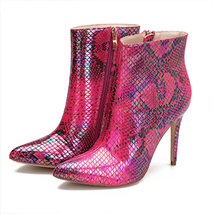 """Women's High Heel Stiletto Ankle Boots 4""""Pointed Toe Side Zippers Patent Short Booties"""