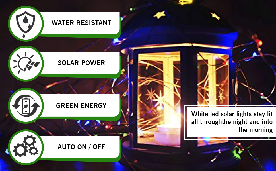 Epyz Solar String Lights Outdoor, 12M 100 LEDs Fairy Lights Powered by Solar and Battery, Waterproof