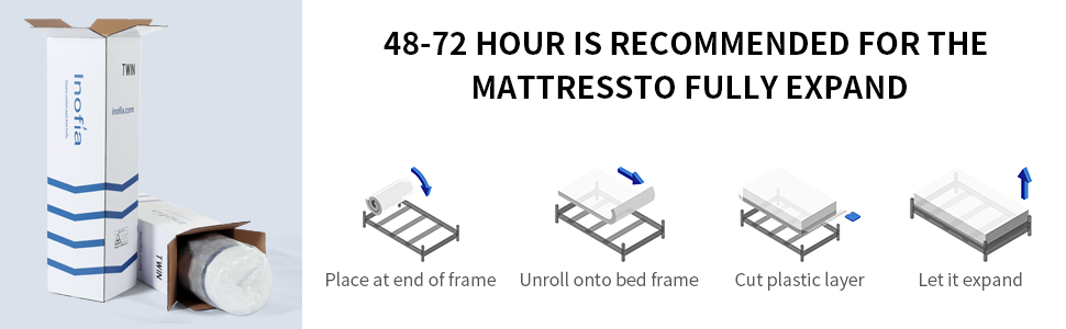 42-72 hour is recommended for the mattress to fully expand