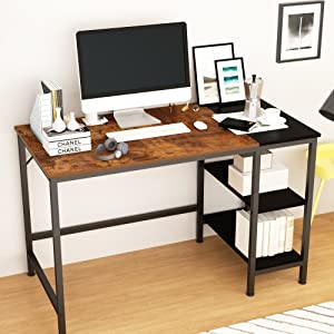 Computer Desk with Shelves,Laptop Table with Grid Drawer