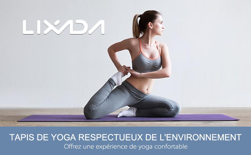 183 61cm 10mm Fitness Ecologique Tapis de Gymnastique Pilates Sac de Rangement et Sac de Transport Lixada Tapis de Yoga Antid/érapant