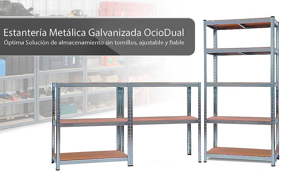 OcioDual Estanteria Metalica Galvanizada 875kg 5 Baldas 180 x 90 x 40cm Ideal Garaje