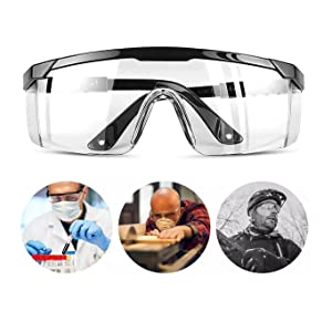 PowerlapPro Safety Glasses  Goggles  Safety Goggles With Side Shields Large Clear Lens with Anti fog