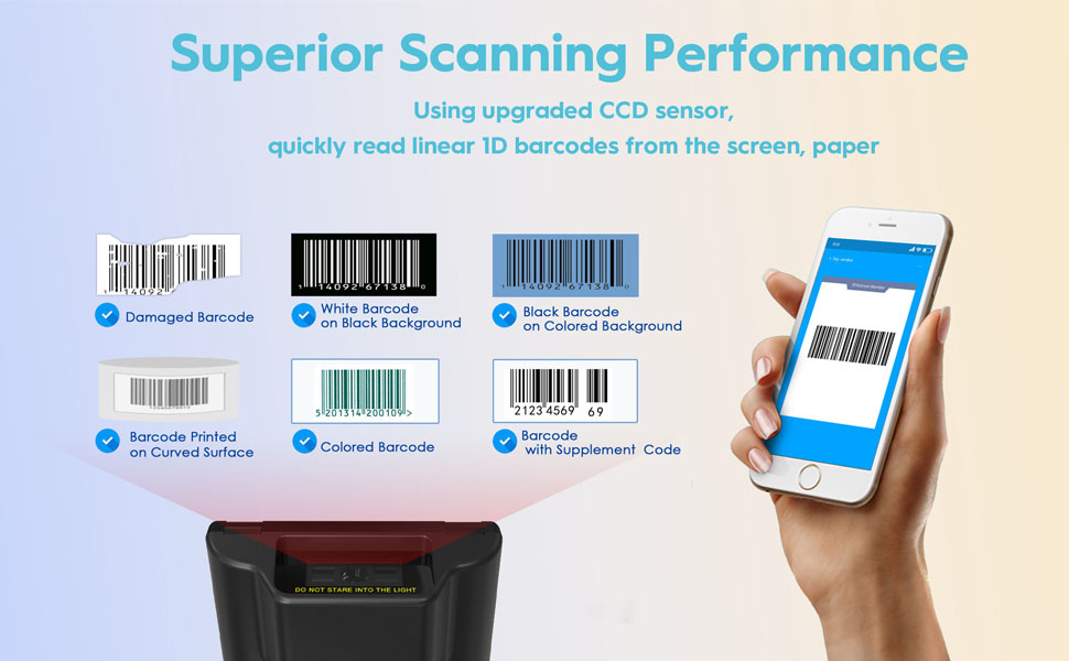 barcode scanner wireless bluetooth usb portable bar code 1d ccd upc inventory warehouse library