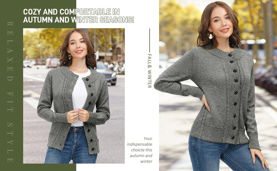 women grey sweater cardigan