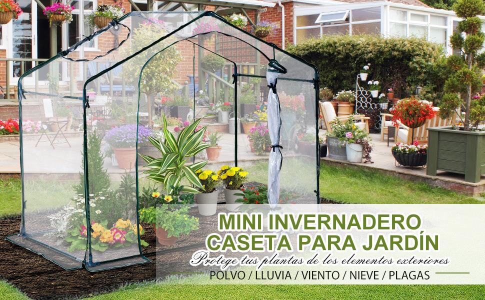 Outsunny Invernadero Transparente de Jardín Vivero Casero Plantas 180x105x165cm Marco Acero Jardinería Invernadero: Amazon.es: Jardín