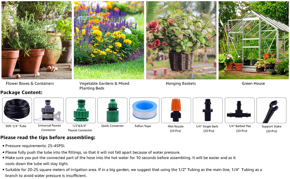 mist irrigation drip watering system kit tube tubing hose