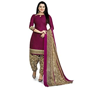 Rajnandini purple Cotton printed Unstitched Dress Material For Women