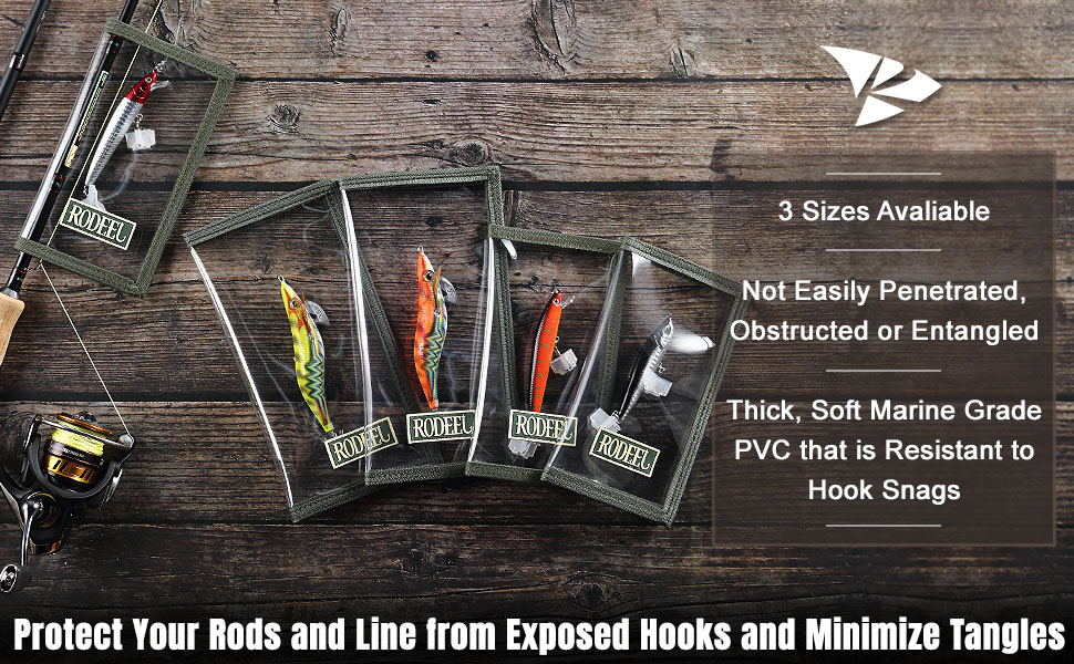 Rodeel Fishing Lure Wraps 4 Packs Clear PVC Lure Covers K... with Hook Bonnets