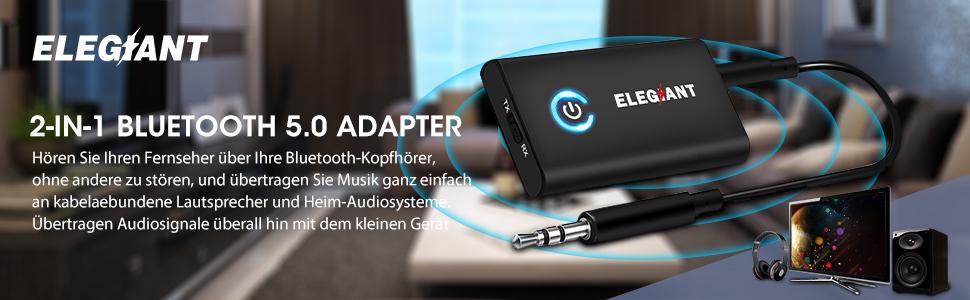 ELEGIANT Bluetooth Adapter 5.0 Bluetooth Receiver