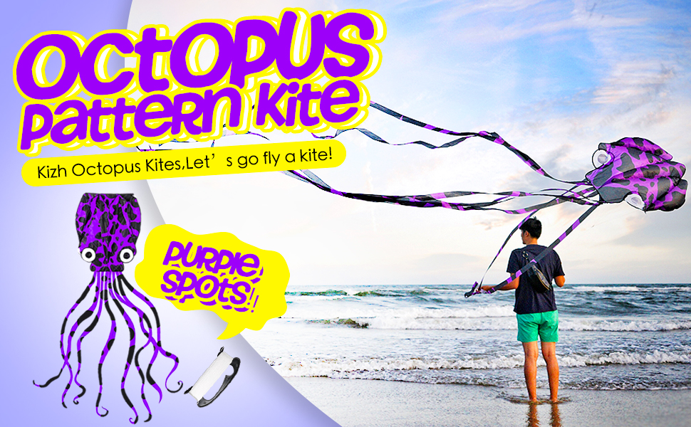 Giant Octopus Kite for Kids and Adults Large Rainbow Easy Flyer with 157-Inch Long Tails Prefect Outdoor Beach Toys Present Idea for Birthday