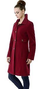 BGSD Women's Heather Wool Blend Walking Coat