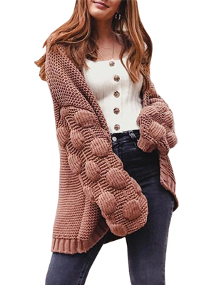 Misassy Womens Oversized Sweaters Open Front Lantern Pom Pom Sleeve Loose Cable Chunky Knit Cardigan Coats