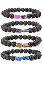 8mm Lava Rock Bead Arrow Diffuser Natural Stone Bracelet Yoga Beads Elastic Jewelry Set Women Men