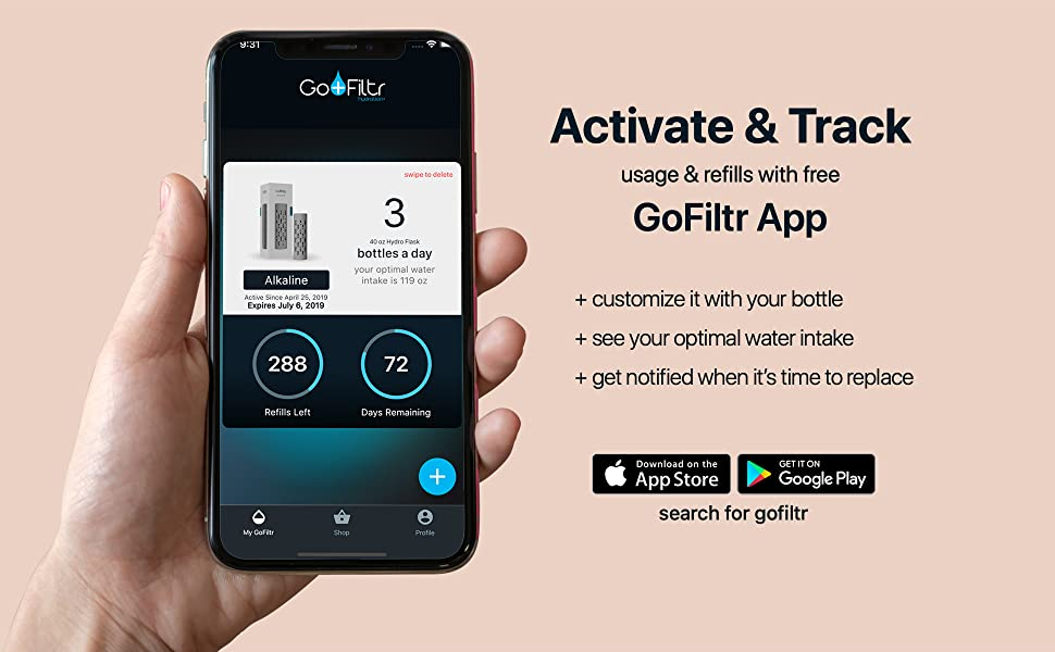 gofiltr alkaline water bottle ph 9.5 ionizer mobile app electrolytes magnesium insulated natural