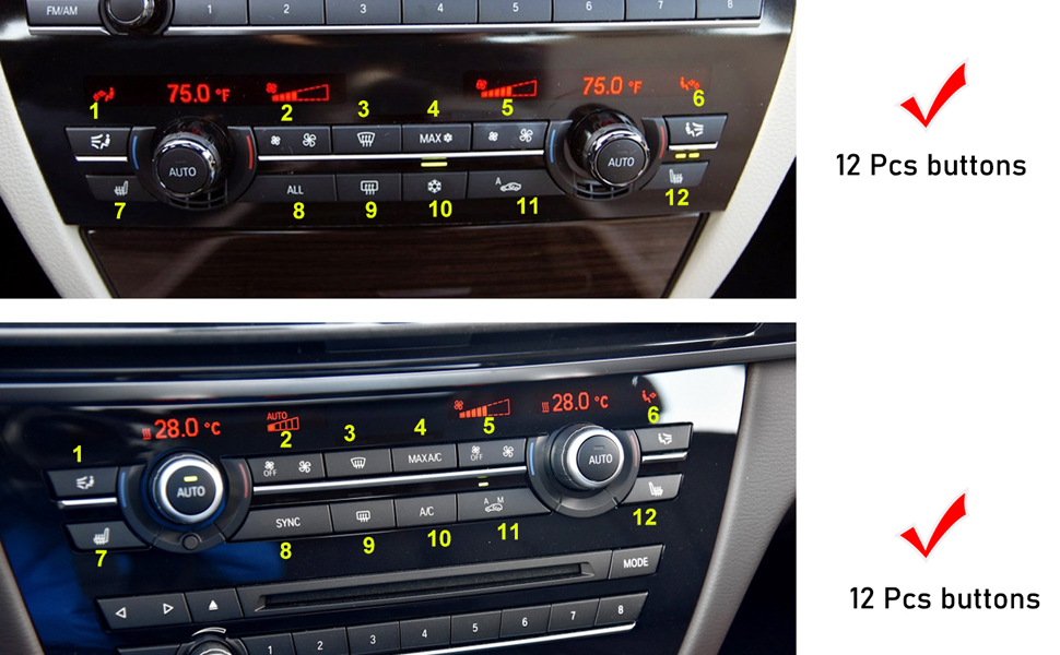 ONLY for AC Panel with 12 Buttons Bright Black Air Conditioning Button Covers Compatible with BMW,Jaronx Uprgaded Heater Climate Control Button Replacement Fits: BMW 5 6 7 X5 X6 Series