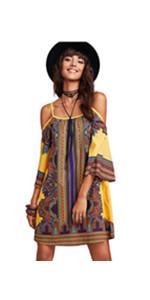 Cold Shoulder Print Dress