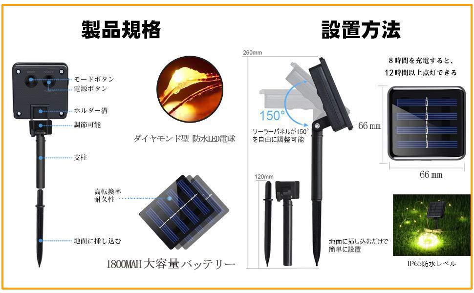 Lyeiaa ソーラーイルミネーションライト LED ストリングライト ワイヤーライト 屋外電飾 フェアリーライト