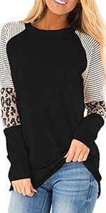 Womens Long Sleeve Leopard Color Block Tops