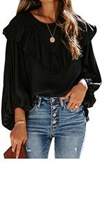 Ausun Women/¡/¯s V Neck Long Sleeve Workout Yoga Shirts Open Back Loose Casual T Shirts Tunic Tops Blouses